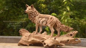 Red Fox Sculpture in driftwood by ghoff24
