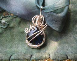 Small Dark Blue Glass Crystal Pendant by Zehful