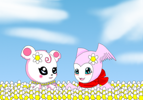 Heartmon and Kawaiimon in the field of flowers by HeroHeart001