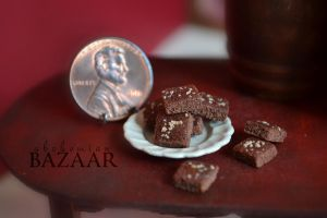 Chocolate Brownies with Nuts 1:12 Scale by abohemianbazaar
