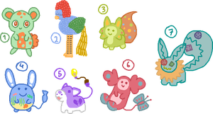 Unique Adoptables (#2 and #4 left!) by Flyffel