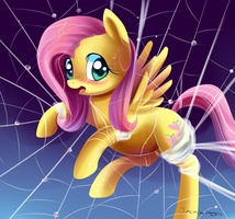 Fluttershy in web by Incinerater