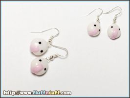 Onigiri earrings pink by Fluffntuff