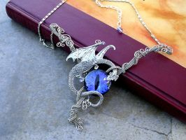 Purple Colorshift Dragon Necklace 2 by LadyPirotessa