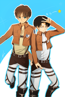 Eren and Levi Heichou! by h-yde