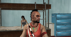 Lara and Vaas: Don't stare my pictures too much. by Hatredboy