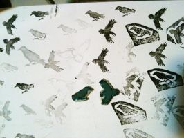 Eraser stamps: ravens by countercanon