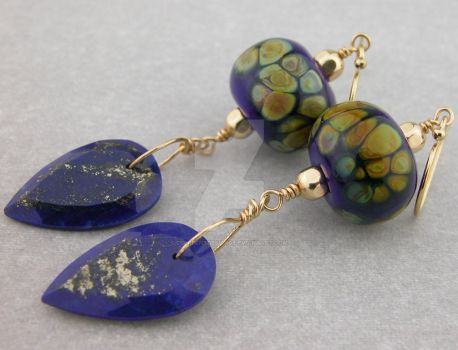 Lapis Points Earrings by cserpentDesigns