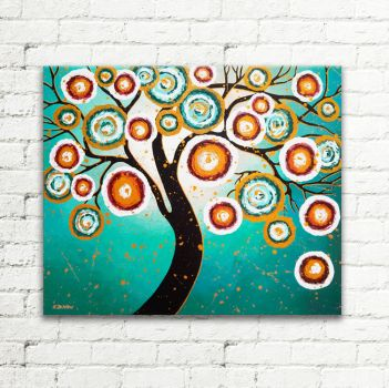 Tree of Life Turquoise Painting Whimsical Art Wall by hjmart