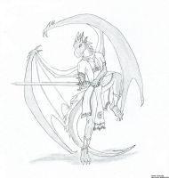 Nova the half-dragon - sketch by Tempestdrg