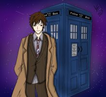 Doctor Who 10th Doctor and TARDIS by LucyXxNyuu13