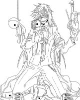 Grell Sutcliffe Lineart by SweetLittleVampire