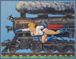 Power Girl races a train by svettzwo