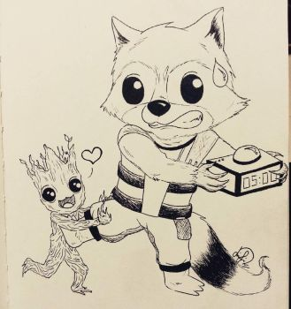 Baby Rocket vs Baby Groot by Laily95