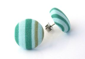 Tiny stud earrings winter post green light blue by KooKooCraft