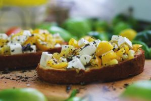 Bruschetta with tomatoes and feta cheese by shmnk