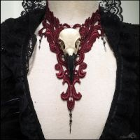 Crow skull lace necklace in maroon by Elorhan