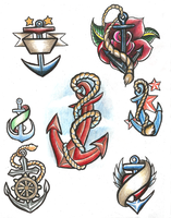 Anchor Tattoo Flash by Ryvienna