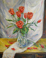 Still Life with Red Roses by raysheaf