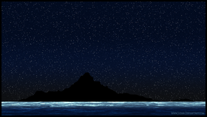 Island at Night Silhouette by Judan