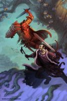 Hellboy vs Koshchei by mc-the-lane