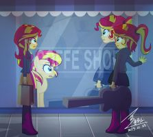 MLP Sunset shimmer and Sunset shimmer by 0Bluse