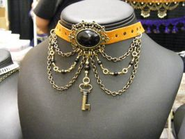 Leather choker with drapes and key by BacktoEarthCreations