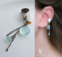 Silver ear cuff with chains and gemstones by JSjewelry