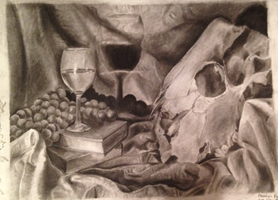 Drawing Final - Cow Skull and Glass by Impano