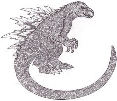 Godzilla Uncolored by DinoHunter2