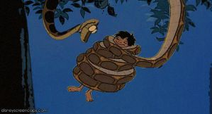 Kaa and Mowgli 1st encounter + 2nd encounter! by pasta79