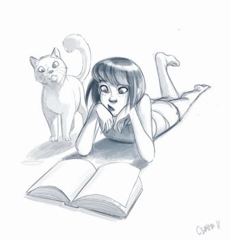 Girl and the Cat by Oniwolf12