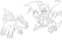 Dialga VS Giratina outline by artico