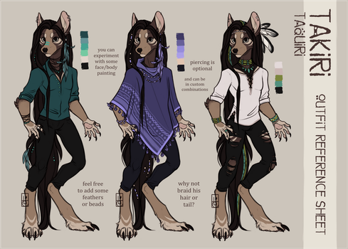 Takiri's/Taquiri's Outfits Reference Sheet by Felidre