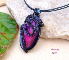 Black and purple wire wrapped Agate pendant by IanirasArtifacts