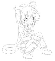 Cat girl - lineart by GaMu-ChAn