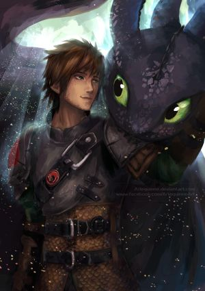 Inseparable - Hiccup and Toothless by Arlequinne