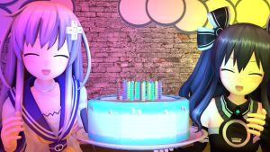 (Hyperdimension Neptunia)(Nepgear And Uni)Cake by nonttyboy