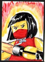 Lego Ninjago Nya sketch card by PlummyPress
