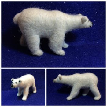 Polar Bear, felted wool by CritterKid