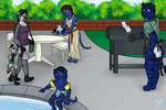 Saber and O'Meles Barbeque by blackflameheart