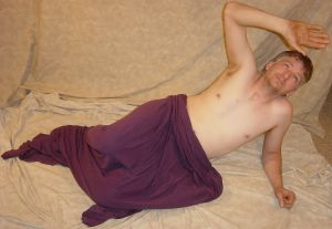 Grey Draped Merman Pose 2