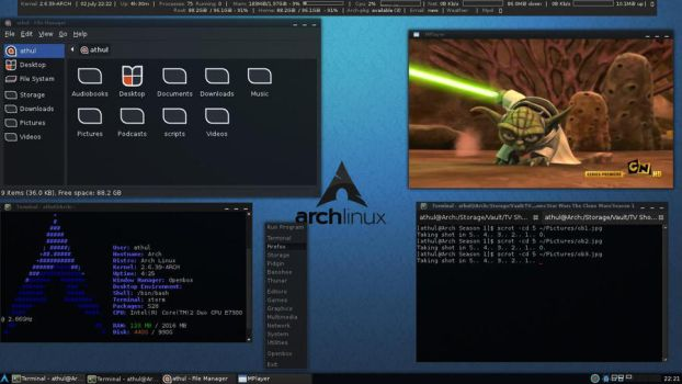 Arch Linux Openbox Desktop by athulram
