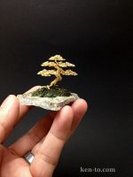 Gold wire bonsai tree on slab by Ken To by KenToArt