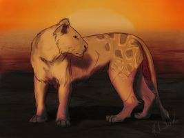 Lioness Sketch by Blue-Willow-Tree