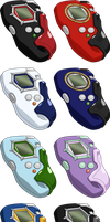 Digimon Frontier all D-Scanners HD + Base by NelaNequin
