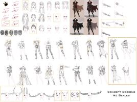 Red Queen Design Sketches by Cique