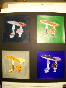 shrooms - acrylic on backerboard by ph4tkid