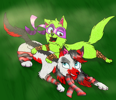 playing around (art trade) by thelongdreamer