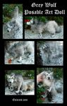 Grey Wolf Posable Art Doll by Eviecats